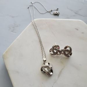 Diamond Love Knot Set Sterling Silver 3 Pieces